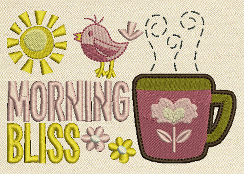 Morning Bliss  Mug Rug In The Hoop Machine Embroidery Design