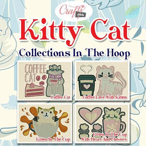 Kitty Cat Mug Rug 4 Pack In The Hoop Machine Embroidery Design