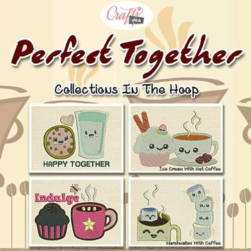 Perfect Together Mug Rug 4 Pack In The Hoop Machine Embroidery Design
