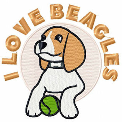 I Love Beagles - Beagle Collection #06 Machine Embroidery Design