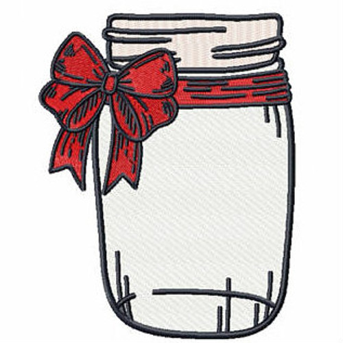 Red Bow Mason Jar - Canning Jars #01 Machine Embroidery Design