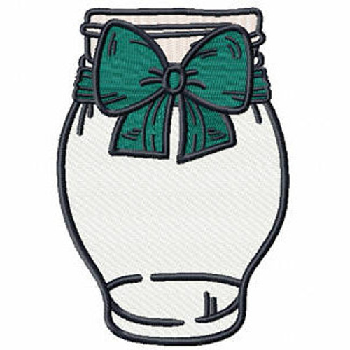 Blue Green Bow Mason Jar - Canning Jars #06 Machine Embroidery Design