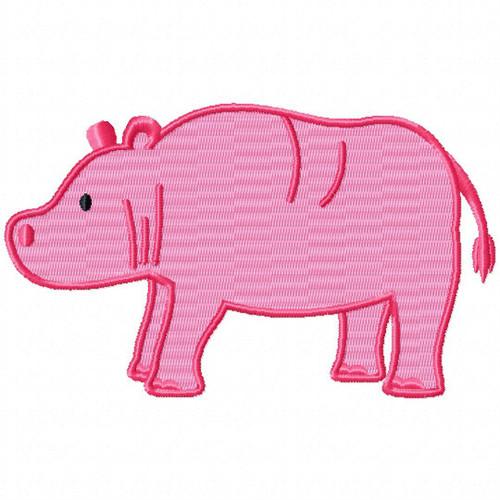 Pink Hippopotamus - Safari Animals #06 Machine Embroidery Design