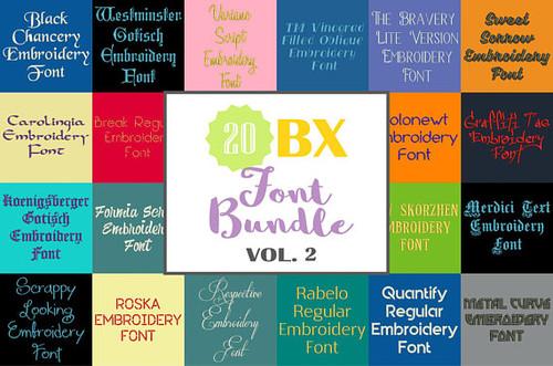 20 BX Fonts - Font Bundle 2 - 20 Embrilliance Machine Embroidery Fonts