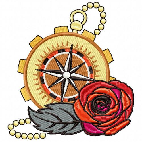 Steampunk Compass Rose - Steampunk #02 Machine Embroidery Design