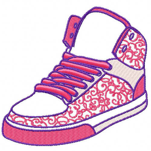 High Top Basketball Sneakers - Shoe Collection #11 Machine Embroidery Design