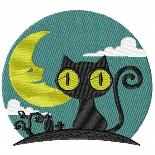 Black Cat - Happy Halloween #09 Machine Embroidery Design