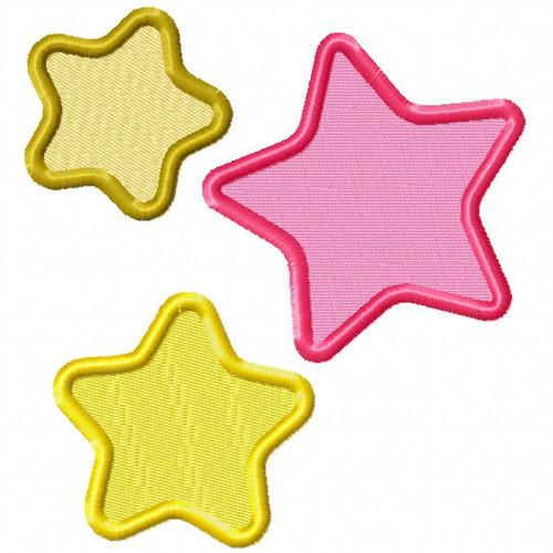 Three Stars - Stars #04 Stitched and Applique Machine Embroidery Design