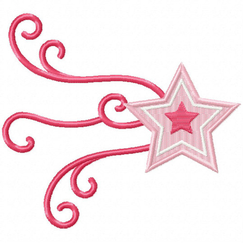 Pink Star Trail - Stars #06 Stitched and Applique Machine Embroidery Design