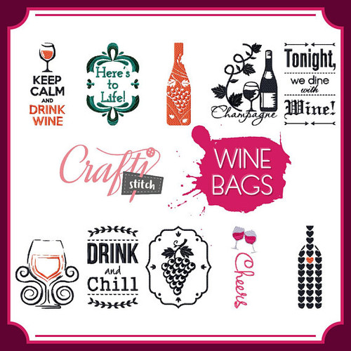 Wine Bags Collection of 10 Machine Embroidery Designs