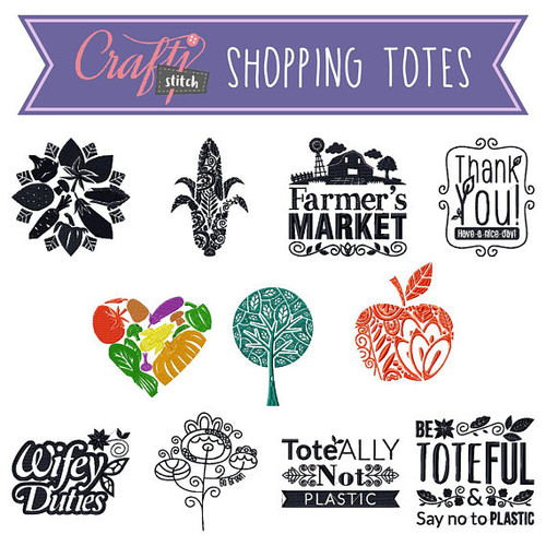 Shopping Totes Collection of 11 Machine Embroidery Designs