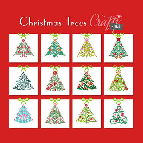 Christmas Tree Collection of 12 Machine Embroidery Designs