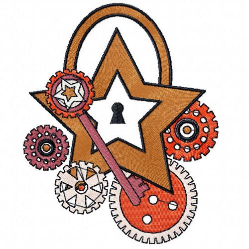 Steampunk Star - Steampunk #10 Machine Embroidery Design