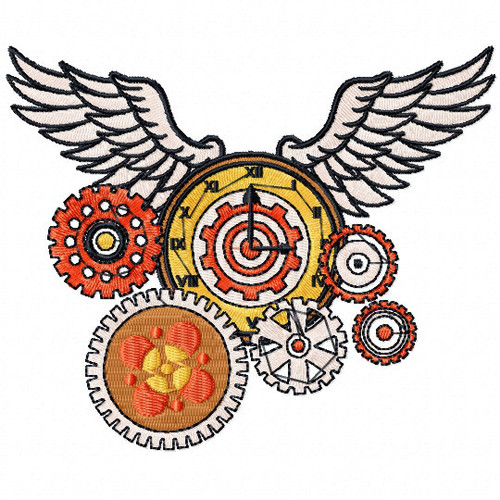 Steampunk Wings - Steampunk #11 Machine Embroidery Design