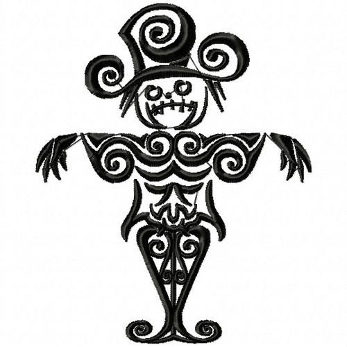Scare Crow - Tribal Tattoo Halloween Design #06 Machine Embroidery Design