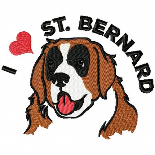 I love St. Bernard - St. Bernard Collection #02 Machine Embroidery Design