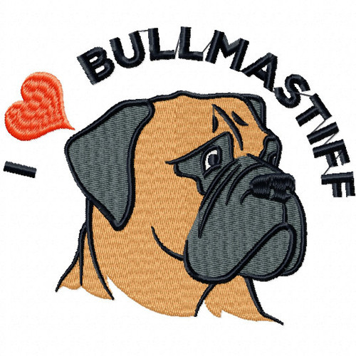I love Bullmastiff - Bullmastiff Collection #02 Machine Embroidery Design