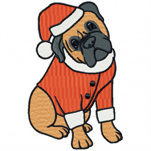 Christmas Bullmastiff - Bullmastiff Collection #05 Machine Embroidery Design