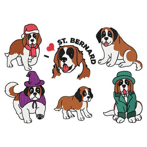St. Bernard Collection of 6 Machine Embroidery Designs