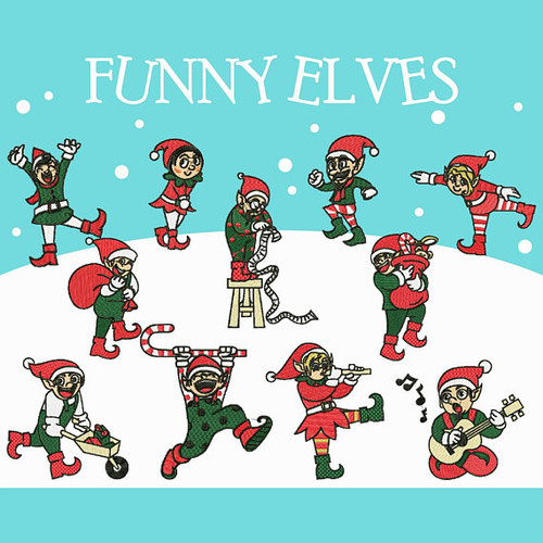 Funny Elves Collection of 12 Machine Embroidery Designs