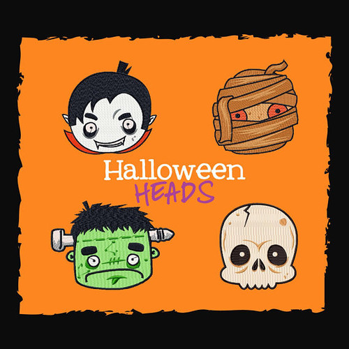 Halloween Heads Collection of 4 Machine Embroidery Designs in Stiched