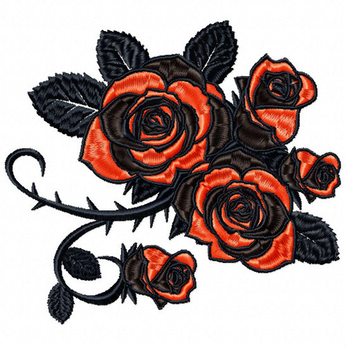 Detailed Rose Pattern Collection #01 Machine Embroidery Design