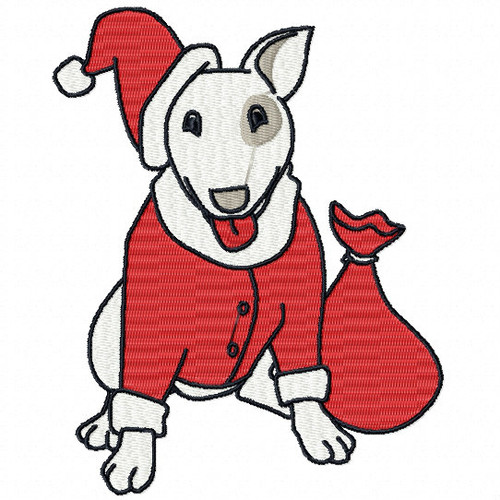 English Bull Terrier - Santa Dog #01 Machine Embroidery Design
