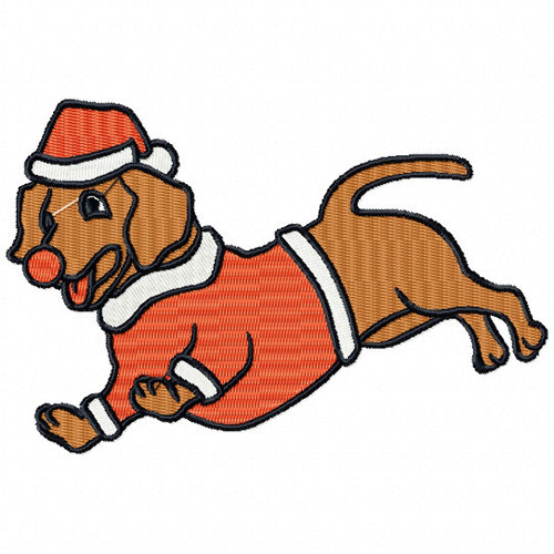 Dachshund - Santa Dogs #03 Machine Embroidery Design