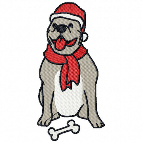 Pitbull - Santa Dogs #05 Machine Embroidery Design