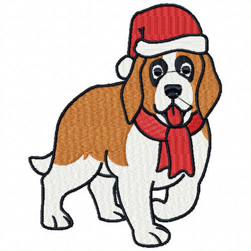 St. Bernard - Santa Dogs #06 Machine Embroidery Design