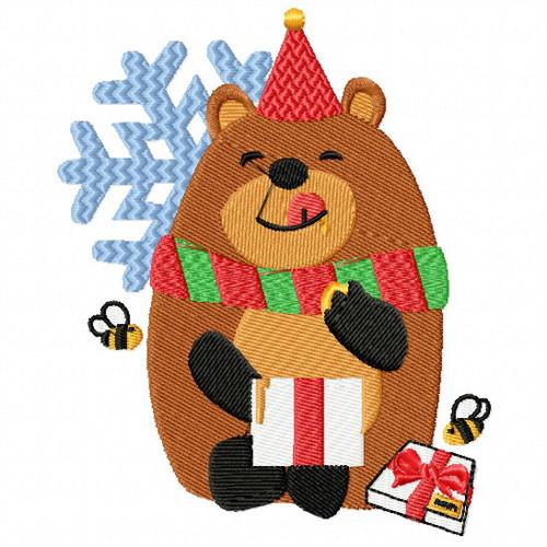 Christmas Bear with Sweet Treat - Christmas Woodland Animals #05 Machine Embroidery Design