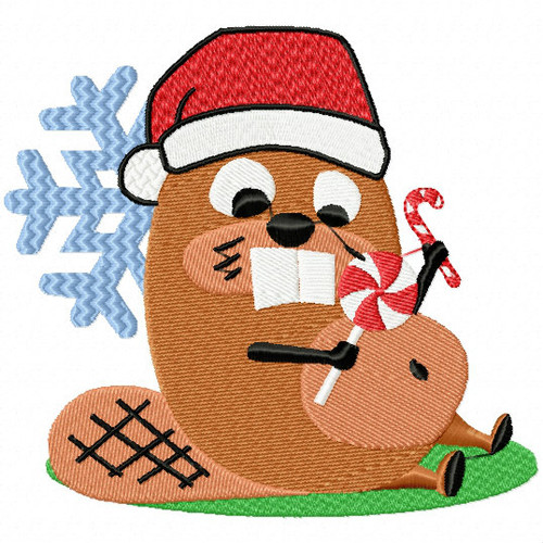 Christmas Beaver - Christmas Woodland Animals #03 Machine Embroidery Design
