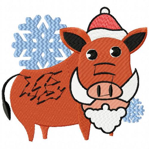 Christmas Warthog with Beard - Christmas Woodland Animals #08 Machine Embroidery Design