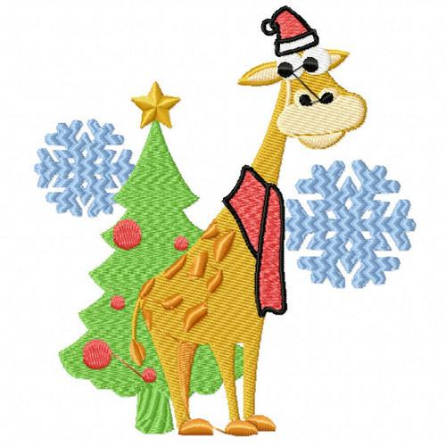 Christmas Giraffe - Christmas Woodland Animals #10 Machine Embroidery Design