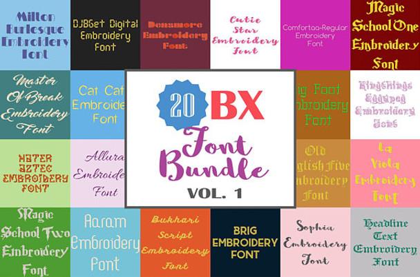 20 BX Fonts - Font Bundle 1 - 20 Embrilliance Machine Embroidery Fonts