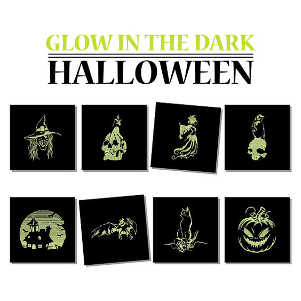 Glow in the Dark Halloween Collection of 8 Machine Embroidery Designs