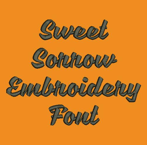Machine Embroidery Font Bold Cursive Sweet Sorrow