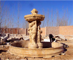 Four Season Gold Stone Travertine Marble Fountain