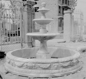 Classic 3 Tier White Marble Fountain
