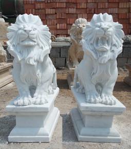PR - Sitting Lions - White Marble