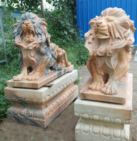 PR - Sitting Lions - Multi Color Marble