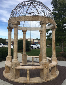 Example of Dome Included - Gold Travertine Marble Gazebo with Stainless Dome