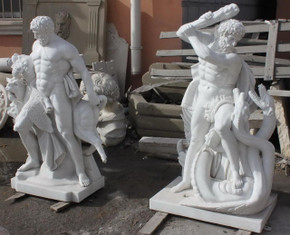 Pair of Male Statues in White Marble 6706