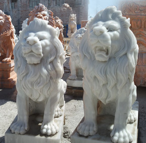 Pair Sitting Lions White Marble