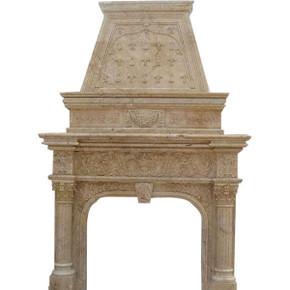Monumental Travertine Trompeleoil Mantel