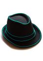 Aqua EL Wire Light Up Fedora Hat