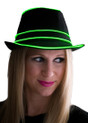 Green EL Wire Light Up Fedora Hat