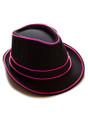Pink EL Wire Light Up Fedora Hat