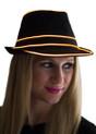 Orange EL Wire Light Up Fedora Hat