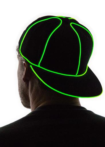 Green Light Up Snapback Baseball Hat